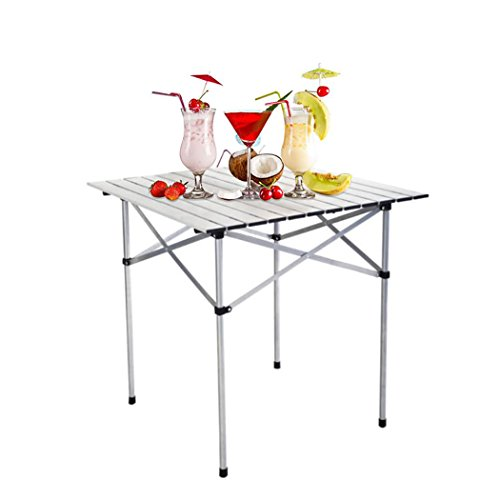 Outdoor Picnic Table, Inkach Roll Up Portable Folding Camping Square Aluminum Picnic Table w/Storage Bag by Inkach