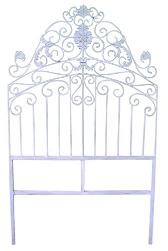 French White Iron Headboard | European Twin Bed Bedroom Decor (Iron Beds Wrought White)