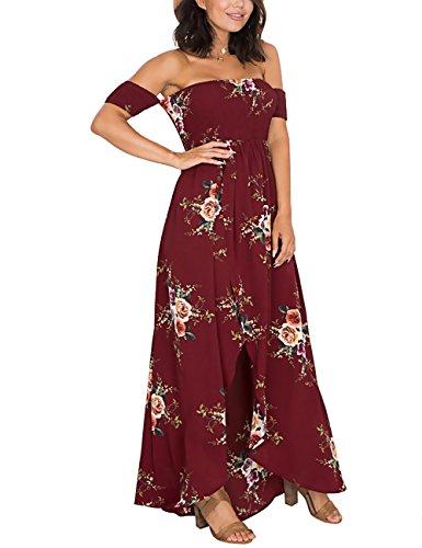 ISASSY - Vestido - Sin tirantes - Floral - Sin mangas - para mujer borgoña