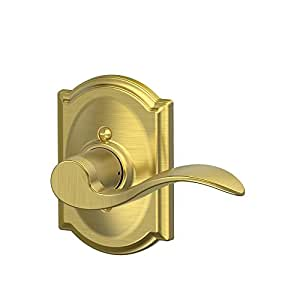 Schlage F170 ACC 608 CAM RH Non-Turning Right Hand Accent Lever with Camelot Trim, Satin Brass