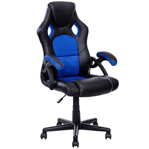 41 nTu5LU6L - Giantex-Racing-Chair-High-Back-Bucket-Seat-Swivel-Executive-Office-Computer-Task-Desk-Gaming-Chair-BlueBlack