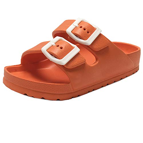 Trends SNJ Kids Boy and Girl EVA Rubber Double Buckle Slides Comfort Footbed Light Weight Sandals Orange