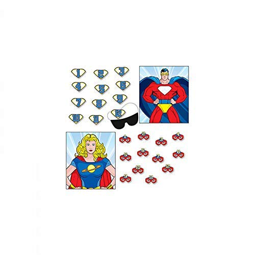 Superhero Party Games - 2 in 1 - Pin the Emblem & Pin the Mask - Blindfold Included - For 2 to 12 Players - Boy or Girl (Superhero Pin)