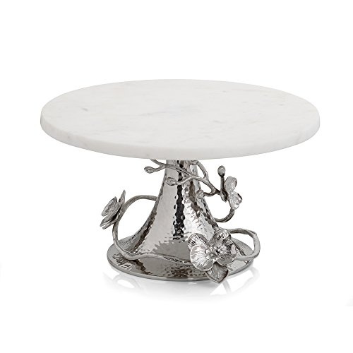 Michael Aram 111861 White Orchid Cake Stand, Silver