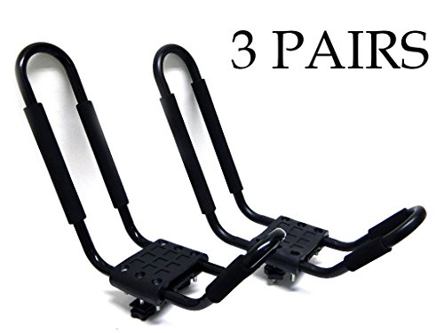 9sparts® J Bar Kayak Canoe Inflatable Boat Wakeboard Waveboard Paddleboard Snowboard Ski Roof Rack Carrier Car SUV Truck Jeep Roof Top Mount With Straps (3 Pairs (6 Racks)) by 9sparts