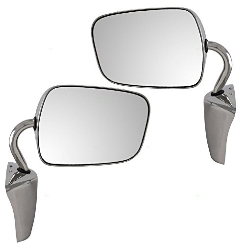 Set of Manual Side View Stainless Steel Below Eyeline Mirrors Replacement for Chevrolet GMC Van 15693132