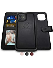 Shields Up Designad för iPhone 12 Pro-fodral, iPhone 12-fodral, [avtagbar] magnetiskt plånboksfodral med kortspår och handledsrem, [veganskt läder] fodral för iPhone 12/12 Pro (6,1 tum) – svart