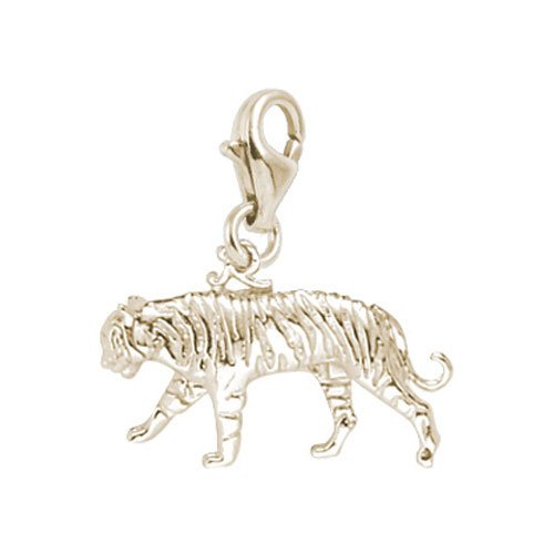 er Charm with Lobster Clasp, Gold Plated Silver (Gold Plated Tiger Charms)