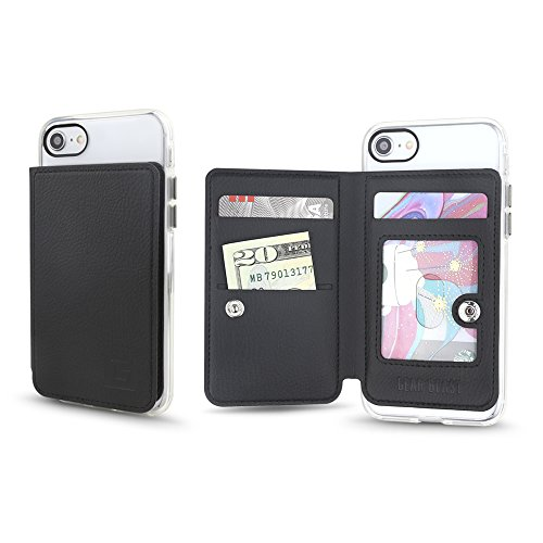 Iphone 5 Snap - Gear Beast Universal Cell Phone Stick On Slim Wallet Card Holder Phone Pocket Case for iPhone, Galaxy, Android & Other Smartphones with Three Credit Card and Cash Slots Including Transparent (Black)