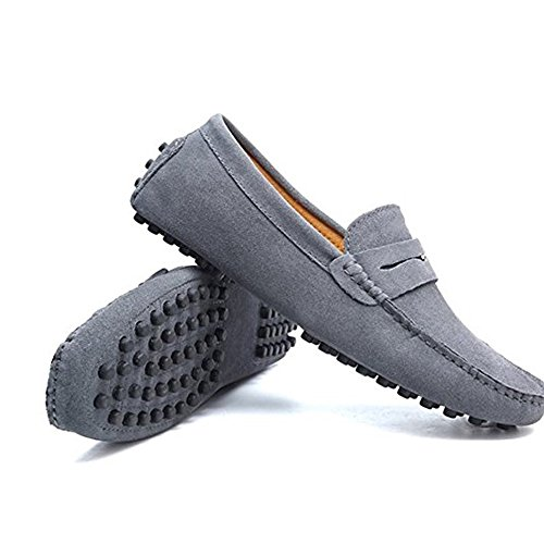 Moccasins Genuine for Loafers Luxury Flats Men's Gray Soft Fashionable Shoes Suede Leather Driving qCAUEw