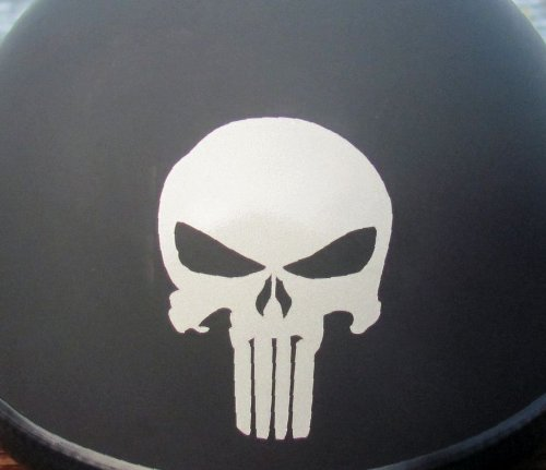 High Viz Inc Badass Skull Helmet Decal WHITE REFLECTIVE- 2 1/8