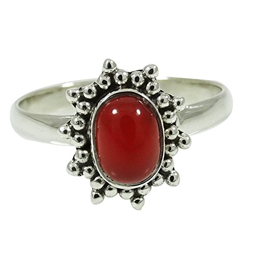 Banithani Marked 925 Sterling Silver Ring Oval Carnelian Stone Fashion Jewelry Gift For Her