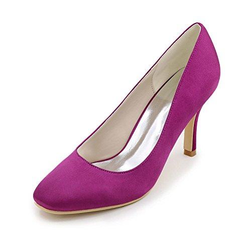 L@YC Mujer-Tacón Stiletto-Tacones / Punta Redonda-Tacones-Boda / Fiesta y Noche-Seda-Negro / Azul / Rosa / Marfil / Blanco Purple