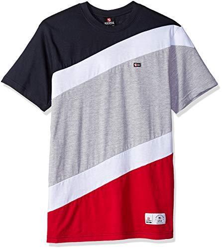 Southpole Men's Colorblock Short Sleeve Fashion Tee, Navy Diagonal Cut, 5XB by Southpole