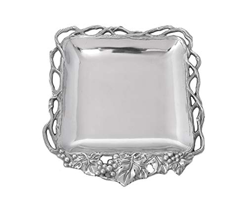 Arthur Court Designs Aluminum Grape Open Vine Square Tray 12""