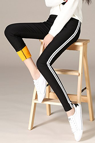 waist white edge autumn and winter feet pencil 2018 new fall and winter outer wear plus thick velvet for women girl (Autumns Edge)