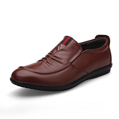 GRRONG Zapatos De Cuero De Los Hombres De Negocios De Ocio Negro Marrón Brown