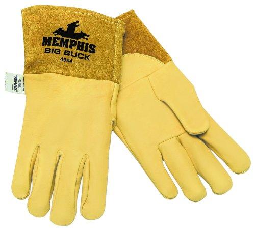 MCR Safety 4984L Big Buck Premium Grain Deerskin MIG/TIG Welder Gloves with Gunn Pattern and 4-1/2-Inch Split Cow Leather Cuff, Yellow, Large, (Best Welder Gloves With Gunn Patterns)