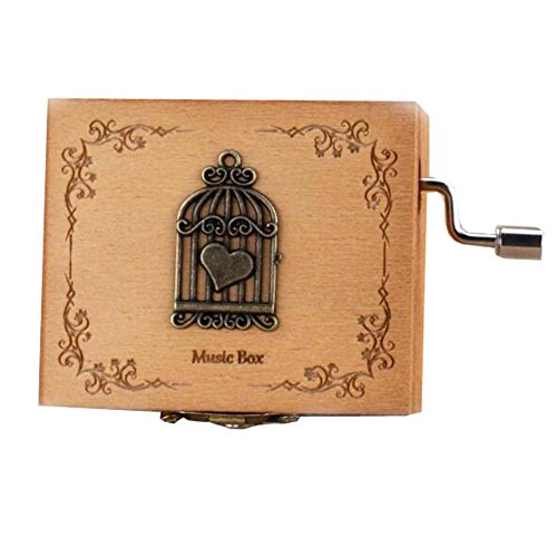 (East Majik Wooden Music Box Mini Hand Crank Music Box Height Approx 1.3 Inch ?¡§Birdcage??)