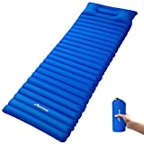 MOVTOTOP Camping Sleeping Pad, Inflatable Sleeping Mat with Attached Pillow(78.7 x 23.6 x 3.6in, Ultralight Backpacking Inflating Sleeping Pad, Perfect for Hiking Traveling and Backpacking(Blue)
