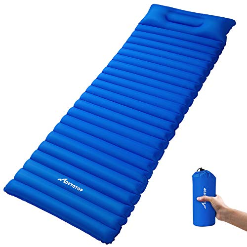 MOVTOTOP Camping Sleeping Pad【Newest 2019】, Ultralight Sleeping Mat with Attached Pillow, Backpacking Inflating Sleeping Pad (78.7 x 23.6 x 3.6in), Perfect for Hiking, Traveling and Backpacking(Blue)