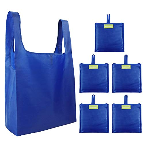 Reusable-Tote-Bag-Grocery-Fabric-Shopping-Large-Bags 5 Pack Reusable Gift Bags for Travel Women gilrs Ripstop Foldable Bags in Bulk Washable Lightweight