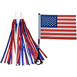catin American/USA Flag and Patriotic Bicycle Ribbon Streamer Scooter Cloth Tassel for July 4 Independence Day Bike and tike Parade, red White Blue