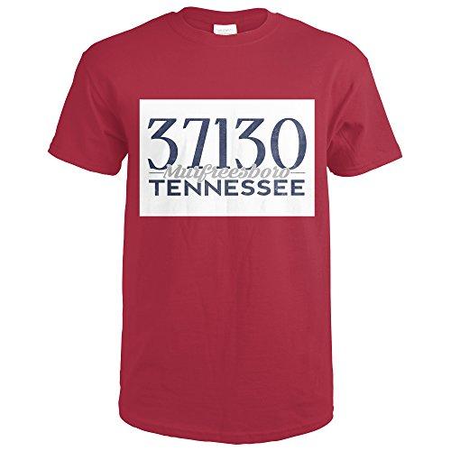 Murfreesboro, Tennessee - 37130 Zip Code (Blue) (Cardinal Red T-Shirt Medium)
