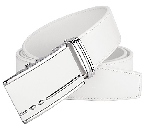 Leather White Belt Buckle - Mens Ratchet Slide Belts Leather Automatic Buckle - White,102-L