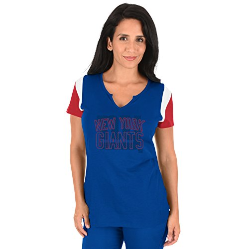 Profile Big & Tall NFL New York Giants Adult Women NFL Plus S/Notch V Neck,1X,Royal/Red