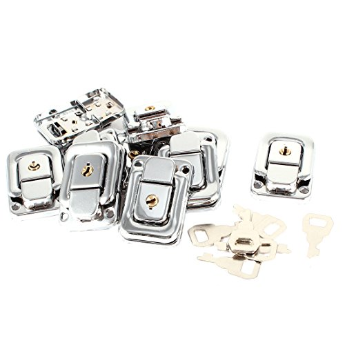 Uxcell Spring Load Boxes Chest Toggle Catch Latch with Keys, Silver Tone, 10-Piece by uxcell