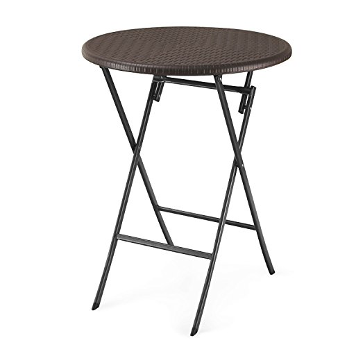 Adeco 1-Piece Folding Bistro-Style Patio Rattan Table Brown by Adeco