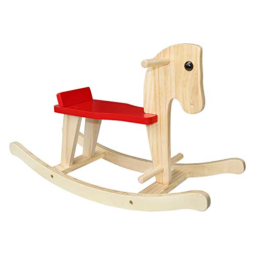 Wooden Rocking Horse, SYNTECSO Baby Rocking Horse Kids Ride-On Toys for Indoor & Outdoor for Toddlers 1-3 Year Children Birthday Gift