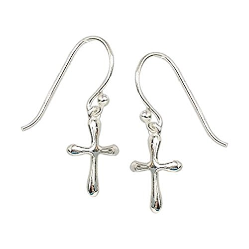 Silver French Sterling Cross (Sterling Silver Small Cross Dangle Earrings -100% Hypoallergenic & Allergy Free Jewelry)
