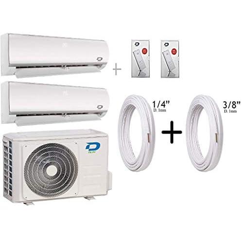 """41 nXyvGzOL. SS500 W Inverter Dual Gas R32 D.FROZEN240 (9000 + 12000 Btu (9+12) D.FROZEN9 + D.FROZEN12) + Tubos de cobre par 1/4"""" + 3/8"""" Wifi; Función Sleep; Bomba de calor; Auto Swing; Standby Pantalla retroiluminable; función deshumidificador; clase A +++."""