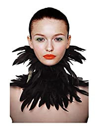 L'vow Black Gothic Victorian Natural Feather Choker Neck Wrap Collar Halloween