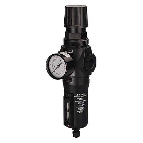 "Master Pneumatic 1/2"" Inline/Modular Regulator/Water Separator, Made in USA, BCFR350-4G"