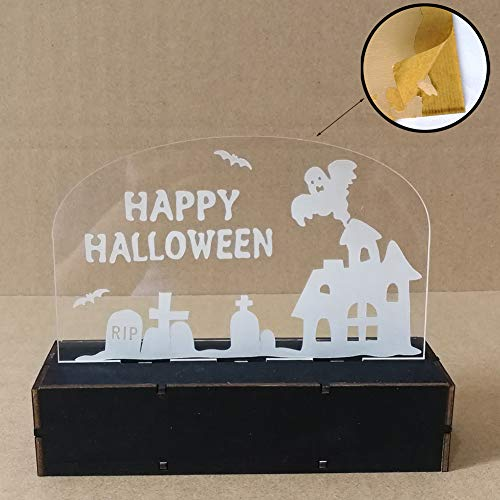 MeterMall Wooden Halloween Pumpkin/Witch/Haunted House Acrylic LED Light for Home Party Decor JM01508 Haunted House
