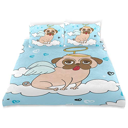 Duvet Cover Cotton Bedding 3 Piece Set Comforter Quilt Cover with Zipper Closure, Soft and Durable,Morden Fun Pug with Angel Costume Style for Boys Girls Single Man and -