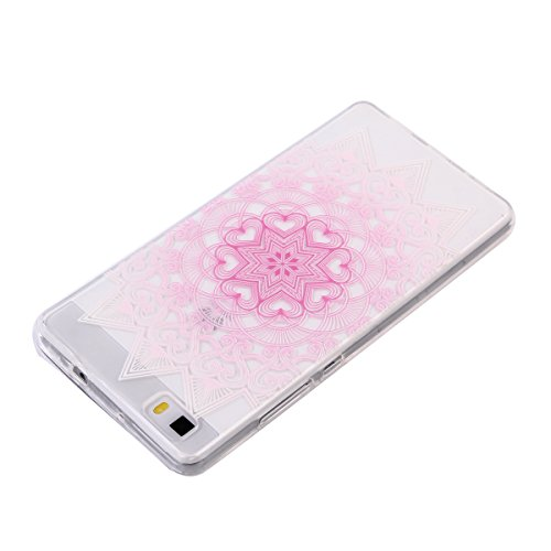 Ecoway TPU Funda Case for Huawei Y625 /Huawei Ascend Y625 , Ultra Thin Carcasa Anti Slip Soft Bumper Scratch Resistant Back Cover Crystal Clear Flexible Silicone Case Parachoques Carcasa Funda Bumper  flores de color rosa