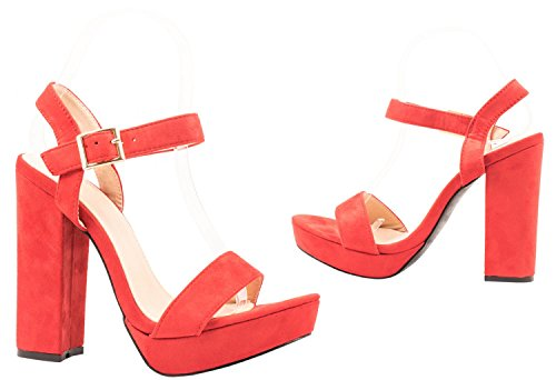 Elara - Tira de tobillo Mujer Rojo