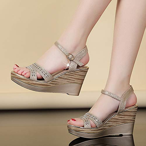 Temperament seven Thirty flat mouth LBTSQ shoes fish fashionable high slope thick sandals shoes muffin bottom bottom women's heels shoes UFFTqAd