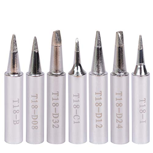 Baitaihem 7pcs Replacement T18 Series Soldering Iron Tip Set for Hakko FX-8801 FX-888 FX-888D FX-600