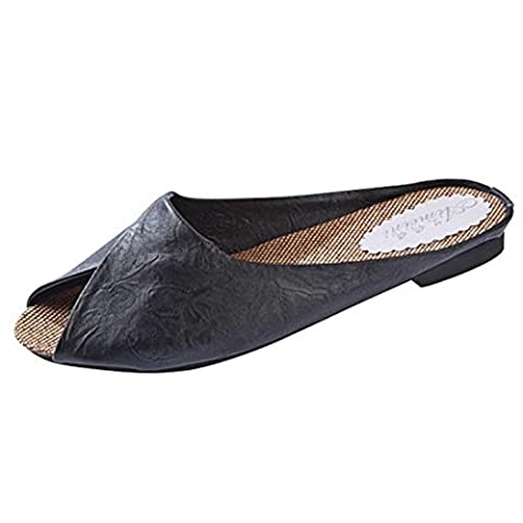 AMA(TM) Women Summer Peep-toe Flat Roman Sandals Loafers Slippers Shoes (8, Black) - Retro Peep Toe