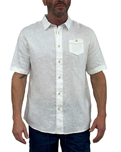- Short Fin Men's Short Sleeve Linen Shirt with Contrast Stitches (Large, Natural)