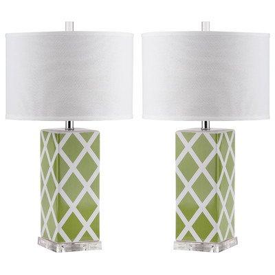 Safavieh Lighting Collection Garden Lattice Table Lamp, Green, Set of 2