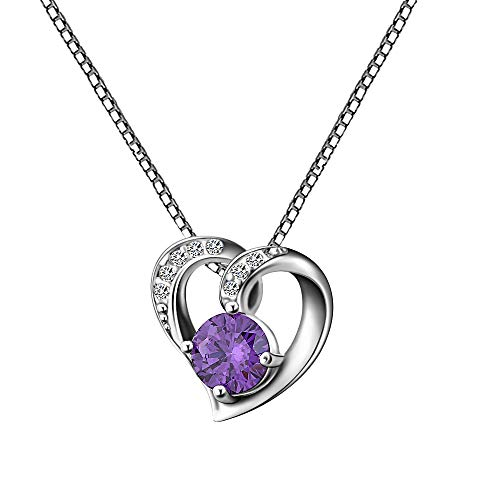 AMYJANE Love Necklaces for Women - Sterling Silver Purple Crystal Cubic Zirconia Amethyst February Birthstone Heart Shaped Pendant Necklace for Girlfriend Mother's Day Endlessness Love