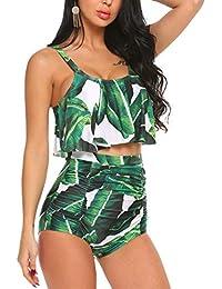 37149d0cb47 Tummy Control Swimsuits for Women Ruffled High Waisted Bikini Set Floral  Printed Plus Size Swimwear
