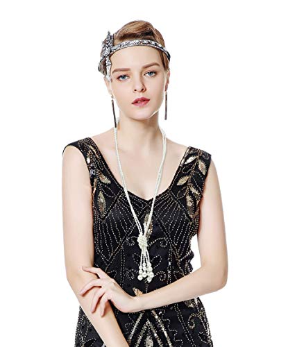 Metme 1920s Gatsby Themes Party Headband Bling Rhinestone Wedding Headpiece Necklace Set
