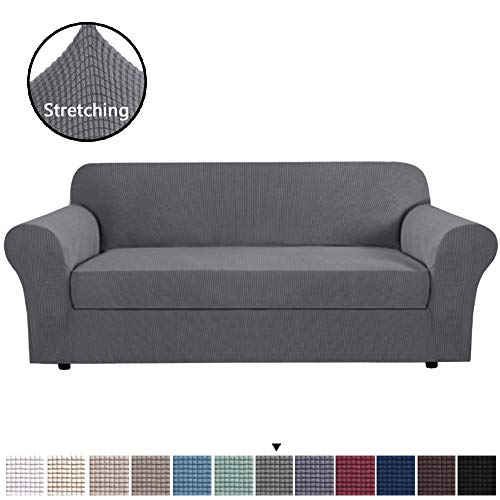 H.VERSAILTEX Modern Spandex 2 Pieces Sofa Cover Lycra Jacquard High Stretch Sofa Slipcover Stylish Furniture Cover/Protector Machine Washable for Sofa- Large - Charcoal Gray (Couch Gray Slipcover)